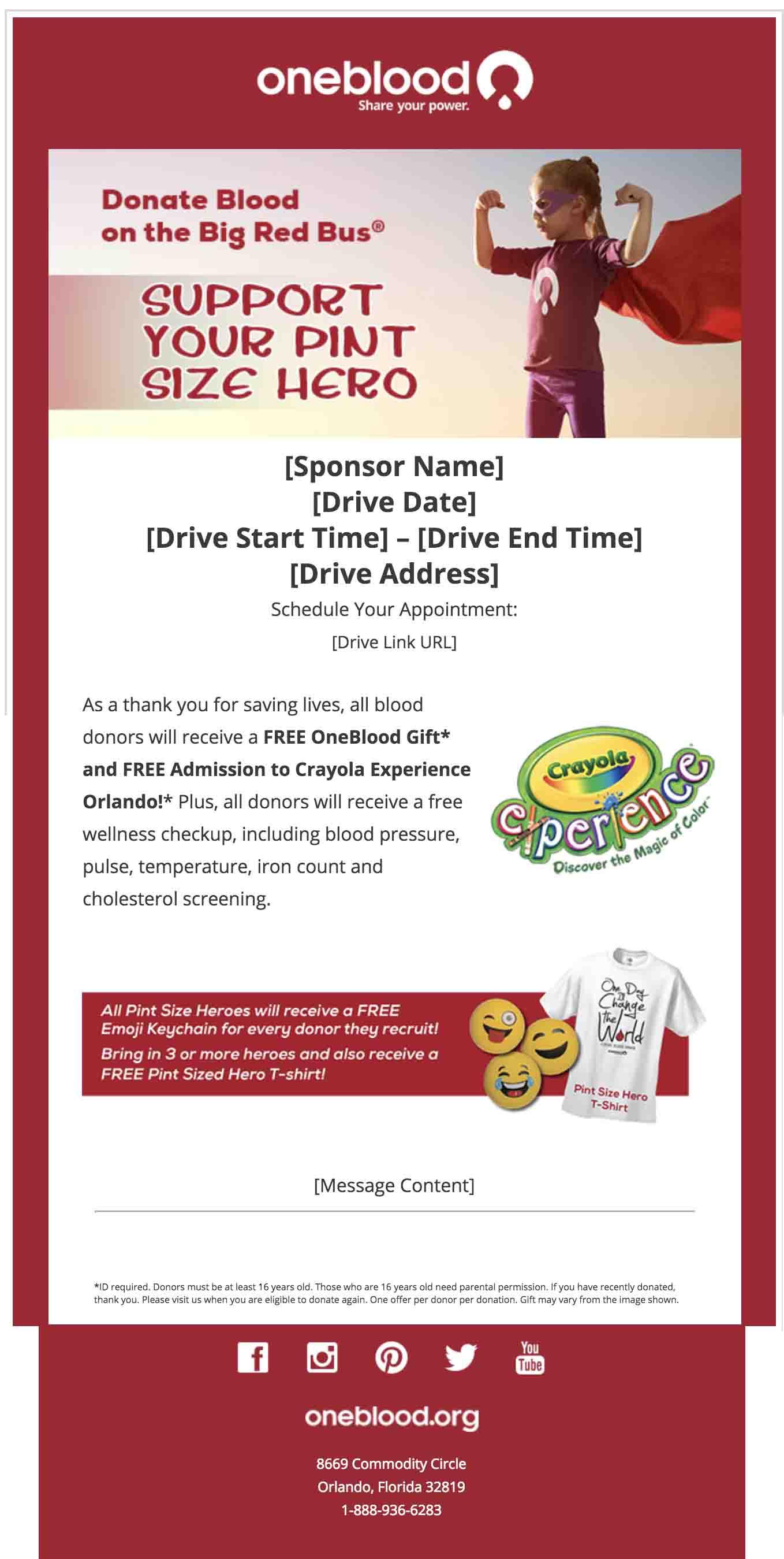 Pint Size Hero Program | OneBlood